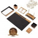 Papel secante de escritorio - Juego de mesa de oficina 10 piezas Lujo (Madera + Cuero)