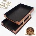 オフィストレイ-革付き木製ドキュメントトレイローズウッド(手作り)