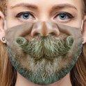 Maschera viso per uomo 3D lavabile - Baffi con barba