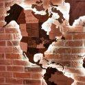 3D mapa sveta na stenu - odtiene dreva sRGB LED podsvietením- rozmer 150cm x 90cm