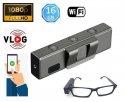 フルHD解像度+ WiFi + 16GBのメガネ用スポーツPOVVlogカメラ
