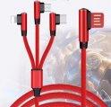 Dzianinowy przewód do ładowania 3V1 o konstrukcji 90 ° ze złączem - Micro USB, Lightning, USB-C o długości 1,5 m