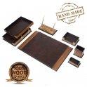 Настольный коврик Luxury Set 8 шт. Для офисного стола - (Орех + коричневая кожа)