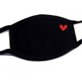 Fekete arcmaszk - 100% pamut, szívvel