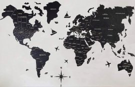 Wall wooden map- color black 100 cm x 60 cm