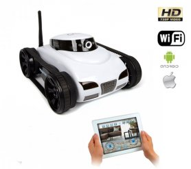 Spy camera- RC tank with online transfer and image recording to the mobile phone