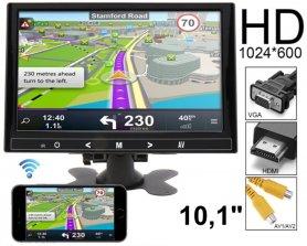 """10 """"Mirror Link monitor do auta WiFi LCD multifunkční - VGA, HDMI a AV vstup pro 2 kamery"""