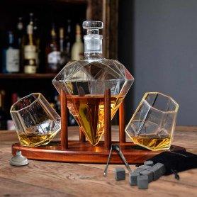 Whiskey set - luxusní karafa na whisky + 2 sklenice na dřevěném stojanu