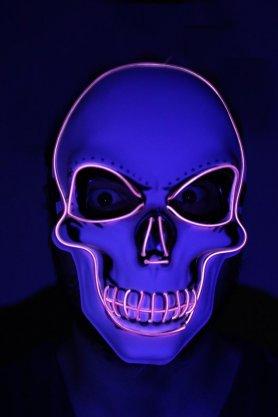LED kukla na obličej SKULL - fialová