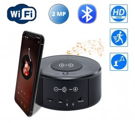 Bluetooth speaker hidden camera with WiFi FULL HD + IR night vision + wireless charger