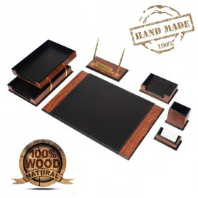 Leather desk pad - luxury​ SET for the office 8 pcs - Walnut + black leather