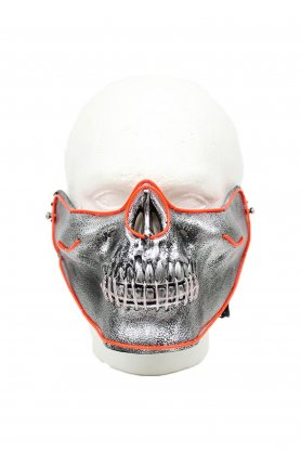 Face mask shining Skull LED - red