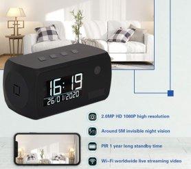 Caméra d'horloge en alarme avec FULL HD + LED IR + WiFi + détection de mouvement + 1 an d'autonomie