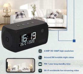 Uhr Kamera im Alarm mit FULL HD + IR LED + WiFi + Bewegungserkennung + 1 Jahr Akkulaufzeit