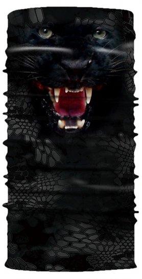 Pañuelo para la cabeza con protector facial para protección - patrón animal BLACK PANTHER
