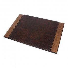 Podkładka pod biurko Luxury Set 8 szt. Na biurko - (Orzech + brązowa skóra)