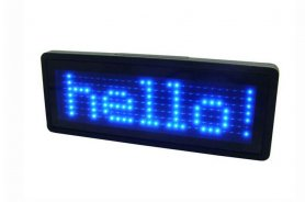 LED name tag - Blue 9,3 cm x 3,0 cm