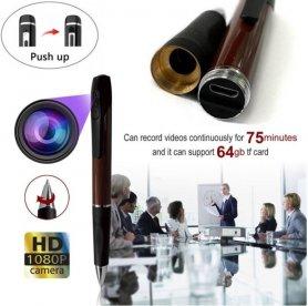 カメラ付きペン-スパイ隠しレコーダーフルHD1080P +最大64GBのマイクロSDサポート