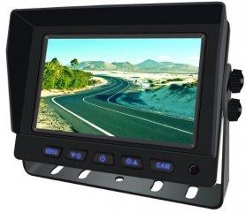 "Vendbar skærm 5 ""til bil 2-CH, AHD / CVBS til 2 kameraer + fjernbetjening"