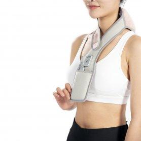 Opvarmet nakkepude (wrap) til nakkesmerter med et display til temperaturkontrol op til 65 ° C