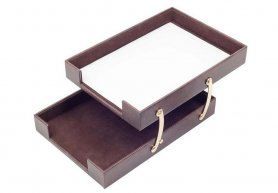 Document tray double luxury leather + gold accessories (Handmade)