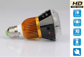 Bulb spy camera with IR + motion detection + sound control
