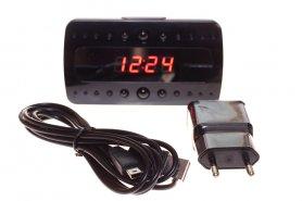WiFi ébresztőóra Full HD kamera + 10 IR LED + mozgásérzékelő + AC/DC tápegység