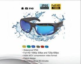 Stylové vodotěsné sluneční brýle s FULL HD kamerou + 16 GB paměť a UV filtr
