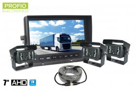 "AHD reversing set with 7"" LCD monitor + 3x camera with 18x IR LEDs and night vision up to 10m"