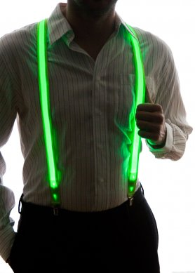 Party LED flashing men suspenders - green