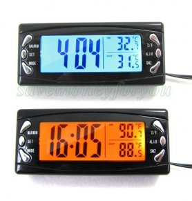 Car thermometer with outside temperature