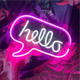 Неонові вогні знак - привіт світлодіодний логотип