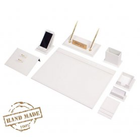 Leather office accessories in white - office desk set - 12 pcs (Handmade)