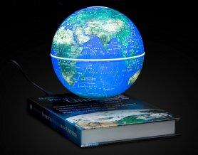 Vznášajúca sa Zemegula (svietiaca) s podstavcom encyklopedia knihy