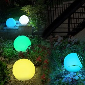 Garden ball LED globes lamp 20cm - 8 colors + Li-ion battery + solar panel + IP44 protection