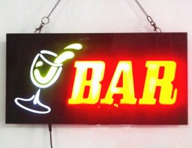 LED light advertising sign board BAR - 43 cm x 23 cm