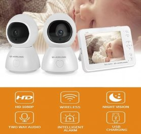 """A legjobb babaőrző - dadai kamera wifi SET - 5 """"LCD + 2x 1080p PTZ IP kamerák IR LED-ekkel"""