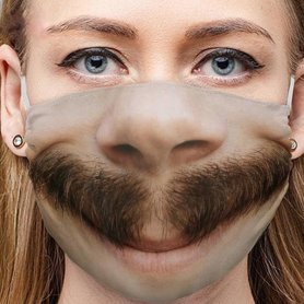 Reusable Washable Mask with 3D print with mustache - BORAT