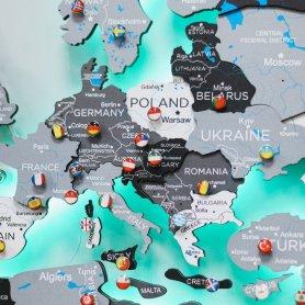 Mapa-múndi iluminado com LED de madeira como decoração de parede BRANCO-CINZA - 200 cm x 120 cm