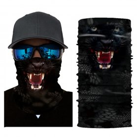 Face shield head scarf for protection - animal pattern BLACK PANTHER
