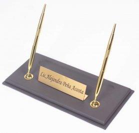 Leather pen standfor work desk + gold nameplate + 2 gold pens