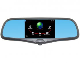 Multi-function rearview mirror with GPS navigation, HD DVR car camera, bluetooth and FM transmitter