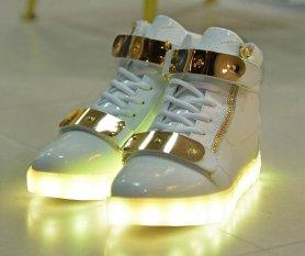 Villogó LED Cipő - fekete és arany