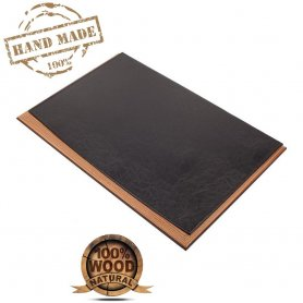 Leather desk pad - luxury design wooden + black leather (Handmade)