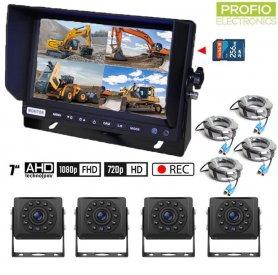 "AHD parkirni set sa snimanjem na SD karticu - 4x AHD kamera s 11 IC LED dioda + 1x hibridni 7 ""AHD monitor"