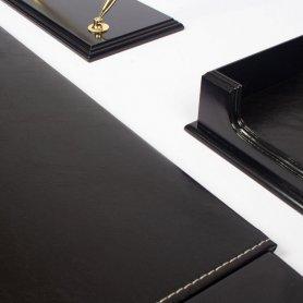 Pisalna miza luksuzni pisarniški set lesena 8 kosov - (Oreh + usnje) ročno izdelana