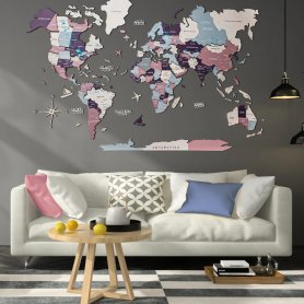 Mapa de viagem 3D de madeira na parede - PASTEL 100x60cm