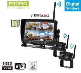 """กล้องถอยหลังพร้อมจอมอนิเตอร์ไร้สายพร้อมบันทึกลง SD - กล้อง WiFi AHD 2x + จอภาพ LCD DVR 7"""""""