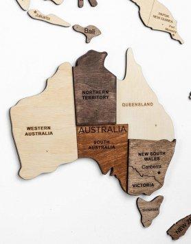 Pintura de parede 3D - mapa mundial de madeira 300 cm x 175 cm