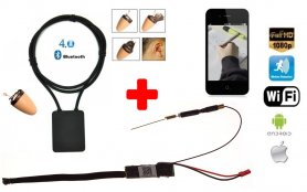 SET - Mini pinhole Full HD WiFi camera + Spy earpiece